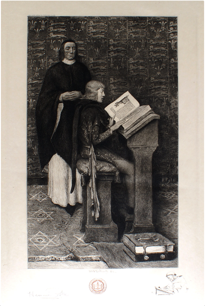 """Richard de Bury Tutoring Young Edward III"".  Etching by W.H.W. Bicknell after a painting by Howard Pyle (American 1853-1911), published by The Bibliophile Society Inc., [Boston], 1903."