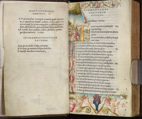 The John Rylands Library copy of the Aldine Virgil, printed on vellum, and illuminated with the coat of arms of the Pisani family of Venice. In the poem on the left page facing Virgil