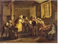 Final or alternate version of the Visit to the Printing Shop by Léonard de France. Musée de Grenoble.