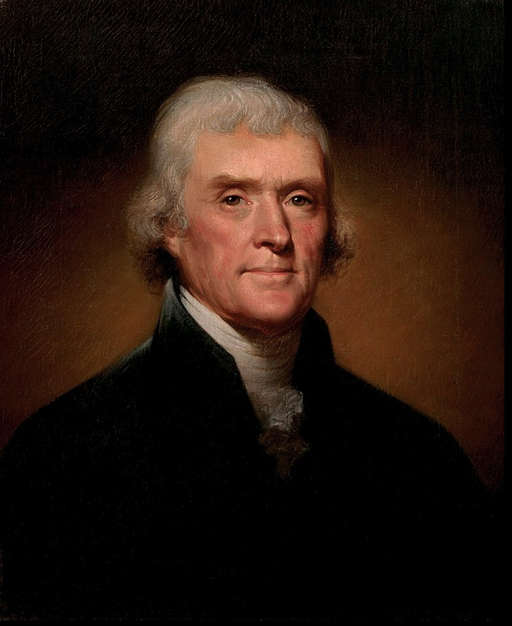 Official Presidential portrait of Thomas Jefferson (by Rembrandt Peale, 1800)(cropped).