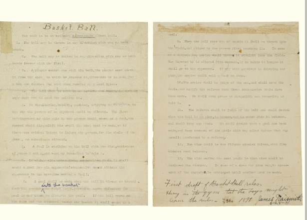 """Typescript document signed (""James Naismith 6-28-31""), 2 pages (10 x 8 in.; 254 x 203 mm), [Springfield, Massachusetts, December 1891], being the original rules for the game of Basketball as typed up the very morning that Naismith introduced his new sport to the world, 46 lines enumerating 13 rules, titled at the top of the first page in Naismith"