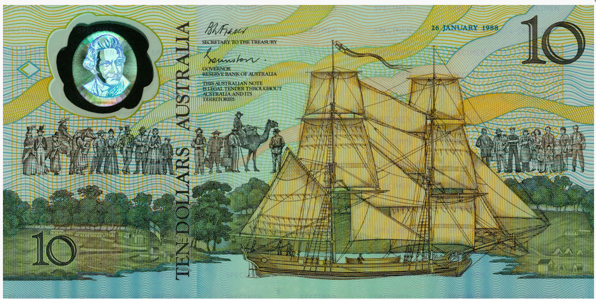 """One side of the note symbolised European settlement with HMS Supply, the first ship to drop anchor in Sydney Cove, and a medley of persons symbolising all who have contributed to Australia"