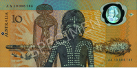 """The other side of the first polymer note symbolised the original discovery and settlement of Australia some 40–60,000 years earlier. It depicts an Aboriginal youth, a Morning Star Pole and other designs including from Aboriginal artworks commissioned by the Bank."""