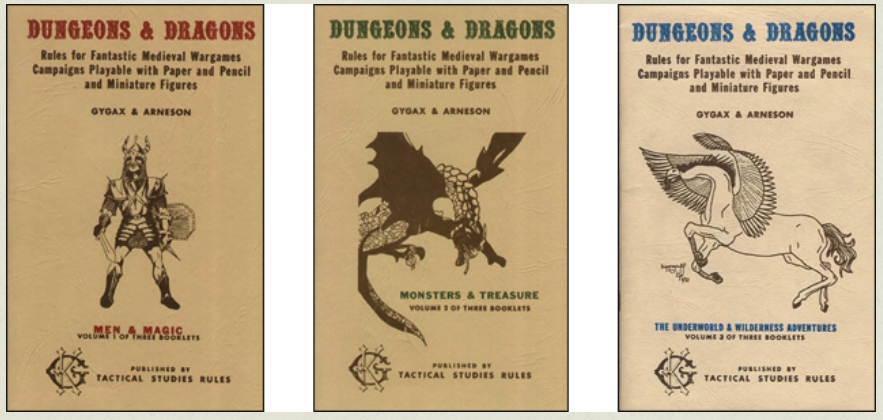 The original booklets setting out the table-top roll playing version of Dungeons & Dragons (D&D).