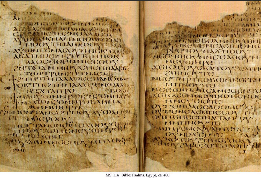 Psalter in Sahidic, a Coptic Egyptian dialect (c. 400 CE), Sohag, Egypt. Schøyen Collection MS 114.