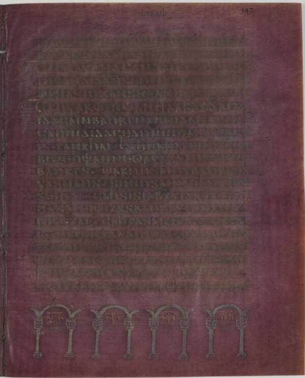 MS DG 1, fol. 147r (Luke VIII:9-14) in the Codex Argenteus.