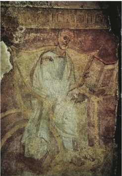 """Excavations carried out at the beginning of the twentieth century in the Capella Sancta Sanctorum, the only surviving part of the ancient Lateran Palace, discovered among the foundations of the chapel the remains of a room of the earliest Lateran library. On one wall was a fresco of a reader, apparently Augustine, seated at a desk, an open codex before him. Beneath it was a legend referring to the writings of the fathers"" ( (Gamble, Books and Readers in the Early Church [1999] 162-63)."