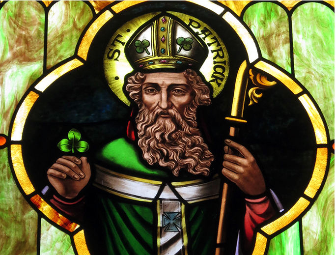 A stained glass image of Saint Patrick at Immaculate Conception Catholic Church in Port Clinton, Ohio. (Credit: 'Nheyob', CC BY-SA 4.0, via Wikimedia Commons)