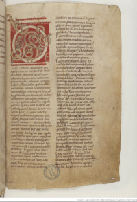 Vol. 6 of the Maurdramnus Bible, leaf 3 recto. This leaf appears to be a 12th century replacement for what must have been a leaf missing from the codex by that time. (Thanks to Ittai Gradel for dating this leaf.)
