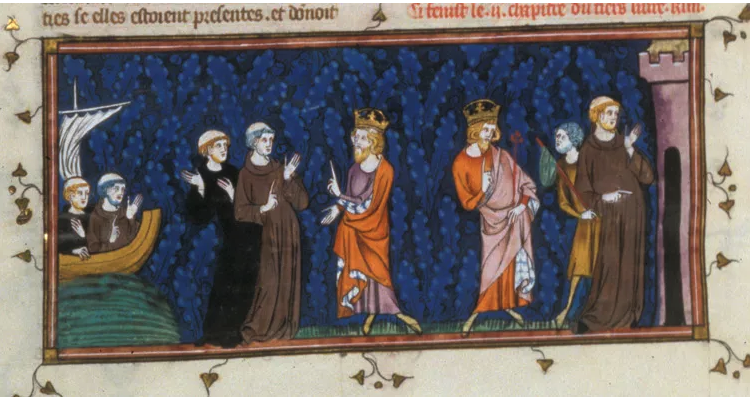 Charlemagne meeting Alcuin – Detail from British Library MS Royal 16 G VI f. 153v.