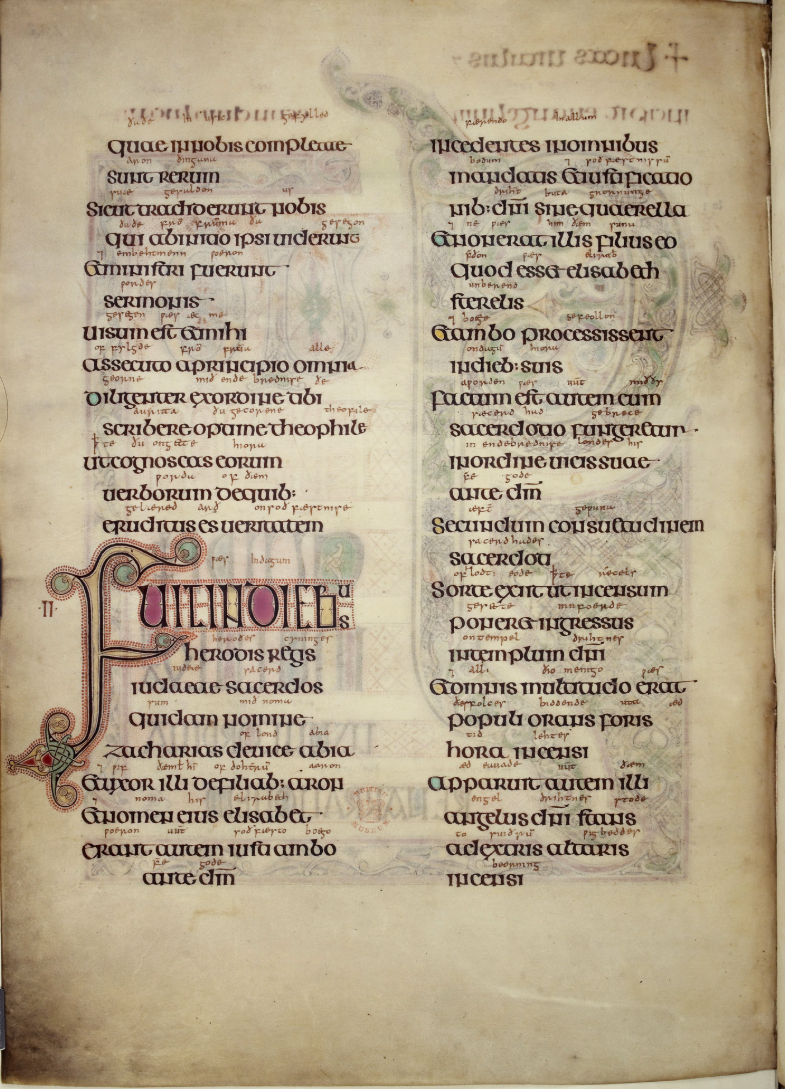 P. 15 of the Lindesfarne Gospels. Aldred the Scribe