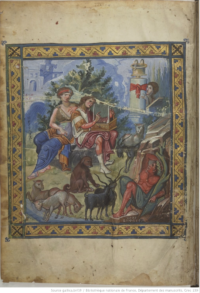 "Paris Psalter (BnF Ms.gr.139).  The most famous miniature in the David series depicts David playing the harp at the side of the seated female figure of ""Melody"". Around this central group are the figure of Echo, various animals charmed by music, and even a male figure symbolizing the town of Bethlehem."