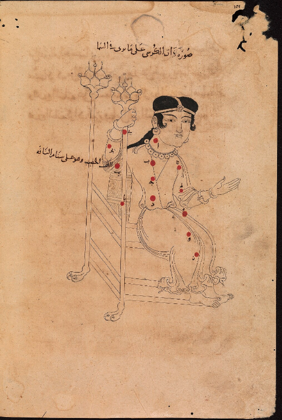 "Bodleian Library MS. Marsh 144. 111/435. (p. 101) ""Cassiopeia (dhat al-kursi), the woman with the throne. (Constellations of the northern hemisphere). 