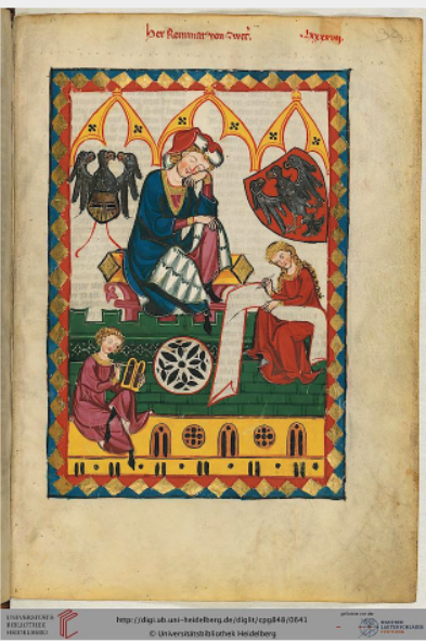 In this image from f323 the poet Reinmar dictates to a notary who records the poems on wax tabelts. A woman sits opposite the notary writing down the text on a roll draped across her lap—a depiction of writing in the medieval roll manuscript format, of which very few examples have survived. The image is also a record of the use of wax tablets at this relatively early date.