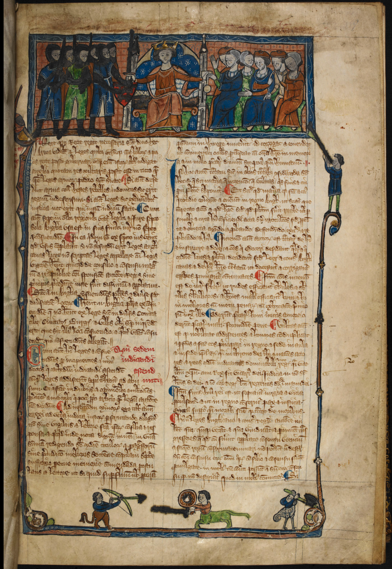 British Library Add MS 11353. HENRICI de Bractone de legibus et consuetudinibus Anglicanis libri quatuor. Codex membranaceus, circa temp. Edw. I. [between 1272-1307] This opening page of a manuscript of Bracton is headed by a miniature of a king holding a sword in one hand and a sealed charter in the other.
