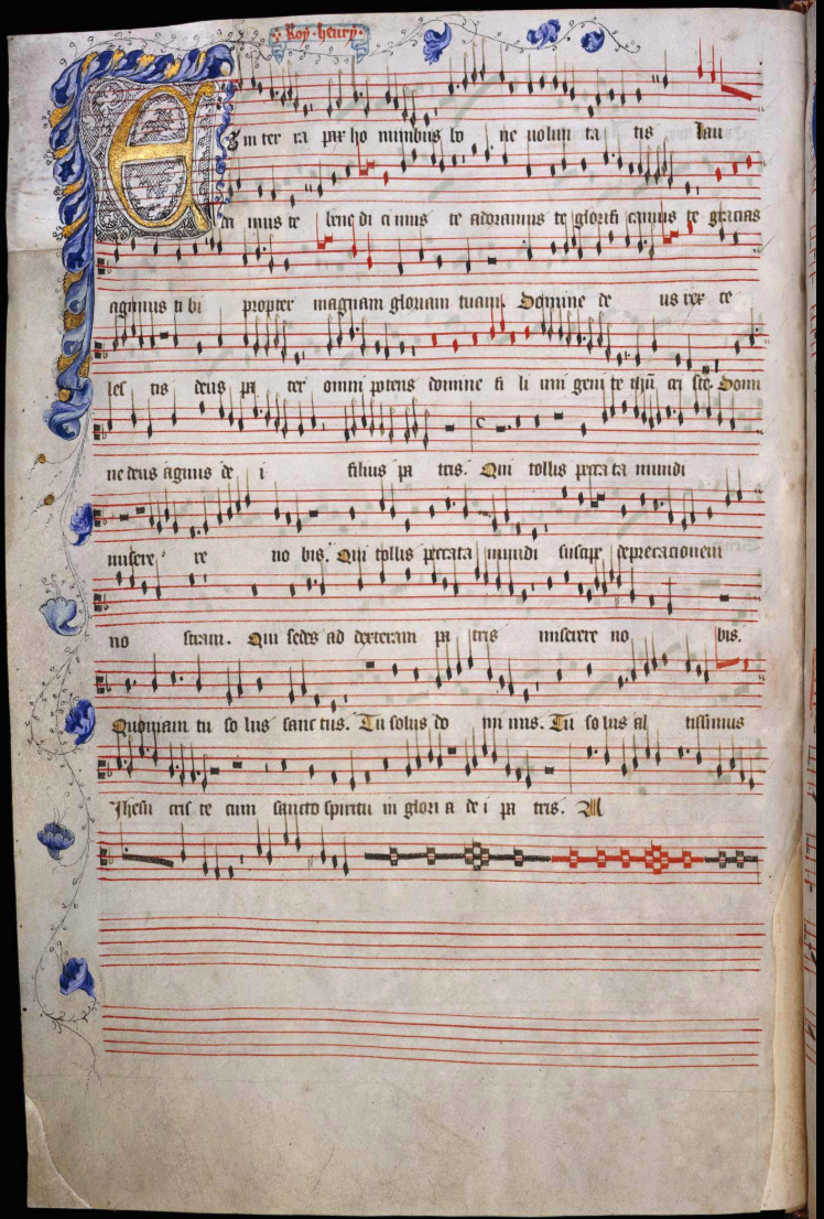 """Folio 12v of the Old Hall Manuscript contains the decorated opening to a Gloria by Roy Henry (probably King Henry V)"""