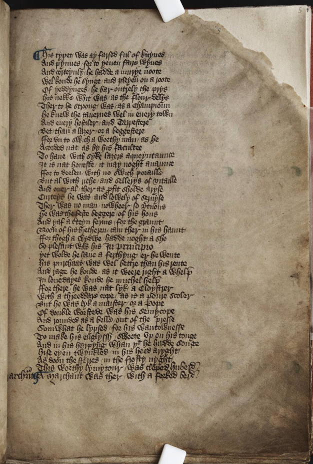 The Hengwrt Chaucer f.5 r., dated 1395-1405. National Library of Wales Lenlarth MS 392D.