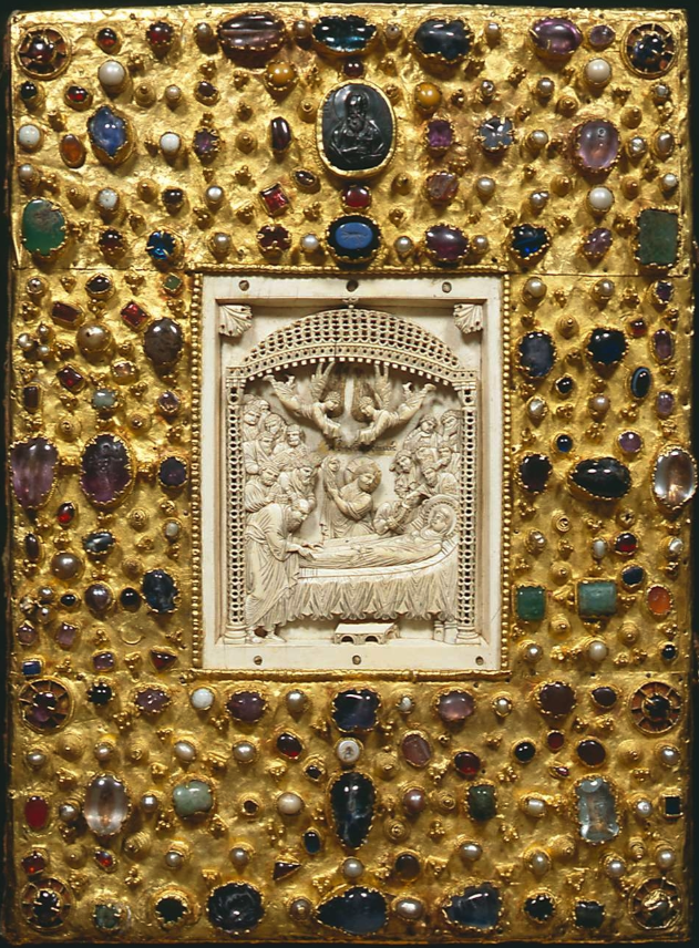 Upper cover of the treasure binding on the Gospels of Otto III. Bayerische Staatsbibliothek Clm 4453.