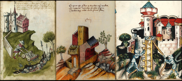 Three images from unidentified manuscripts of Bellifortis.