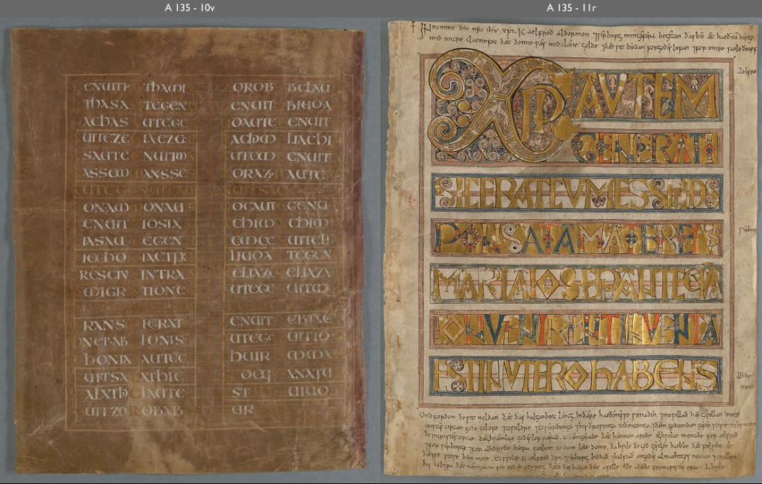Stockholm Codex Aureus leaves 10v and 11r.  (Notice the significant difference in color values between this digital facsimile and the other image reproduced with this database entry.)