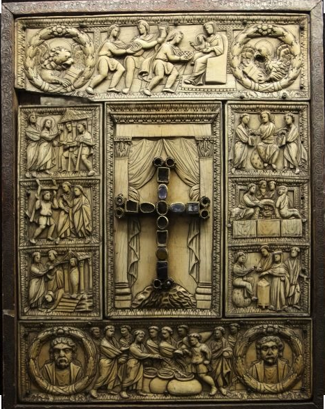 Ivory bookcover in the Cathedral Treasury of Milan. This is one of the earliest treasure bookcovers in existence, dating from c. 450 CE.