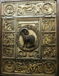 Ivory book cover in the Cathedral Treasury of Milan. This is one of the earliest in existence, dating from c. 450 CE.