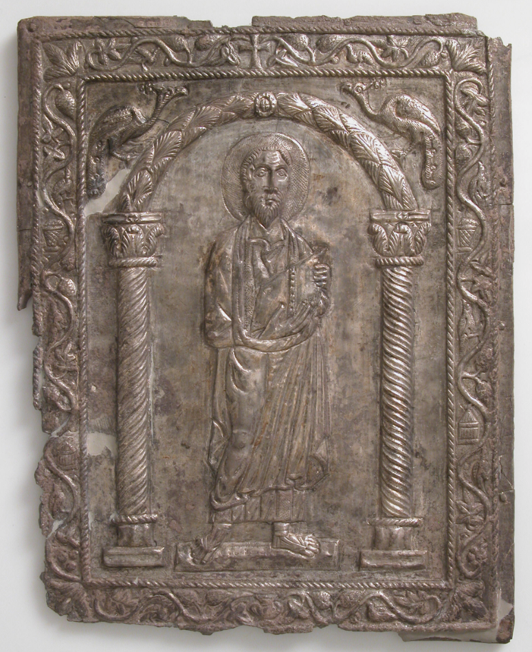Byzantine silver repousse book cover, found near Antioch, Syria, c. 1908–10; showing St Paul, holding a book. Metropolitan Mueum, Accession Number: 50.5.1.