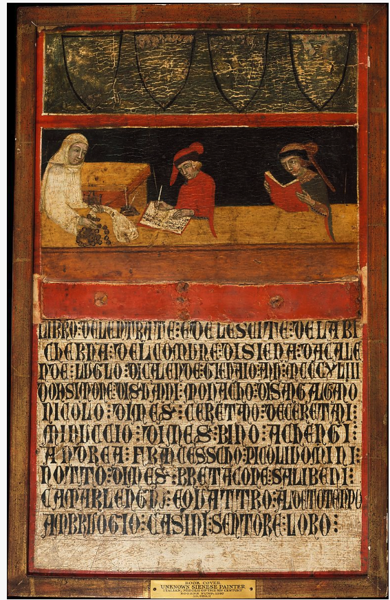 A wooden cover for an account book, dated 1343, for the city of Siena by an unknown Sienese artist. Metropolitan Museum, Rogers Fund, 1910. Accession Number 10.203.3.