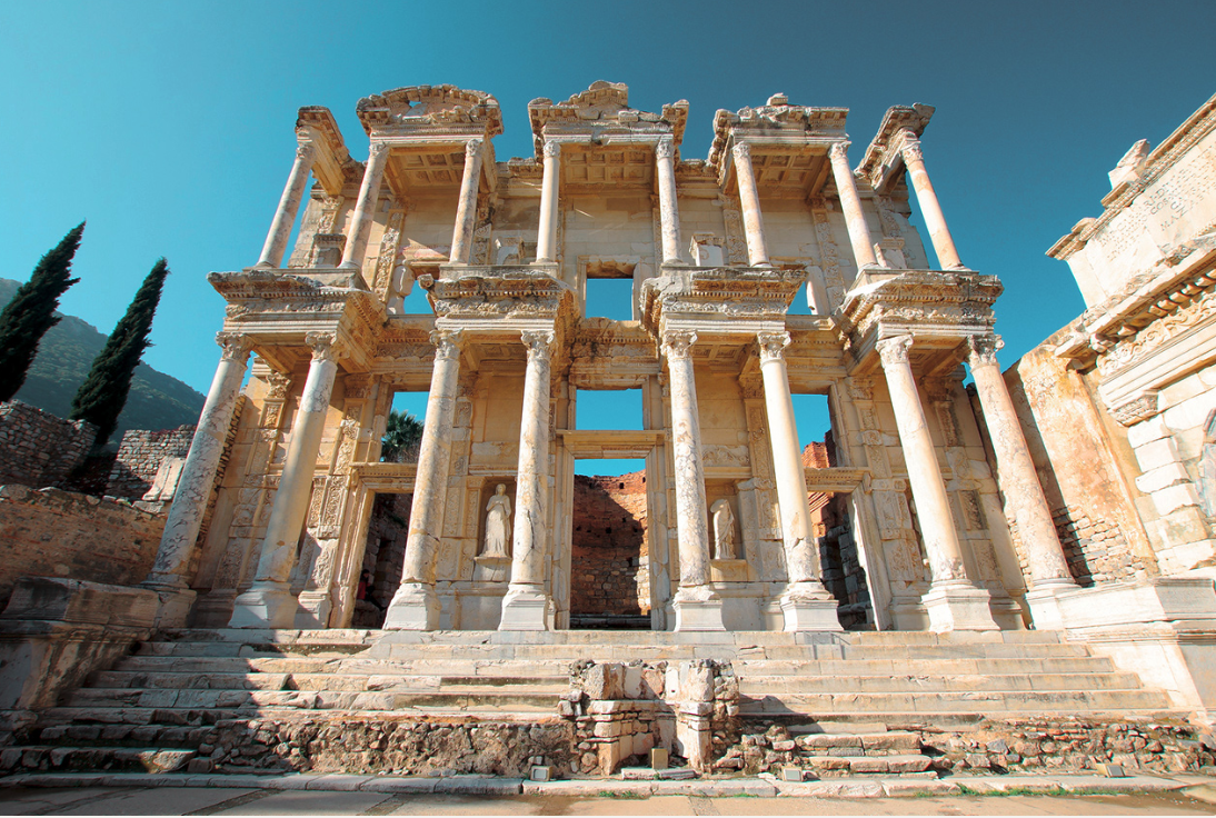 Ruins of the library built in Ephesus as a memorial to Titus Julius Celsus. In 92 CE Celsus  was a consul in Rome, in charge of all public buildings. Between either 105-106 or 106-107 CE he was the proconsul of the Asian province, the capital of which was Ephesus. When Celsus died in 114 CE. at the age of seventy, his son Tiberius Julius Aquila, built the library as a mausoleum for his father. It is assumed that the construction of the library was completed in 117.