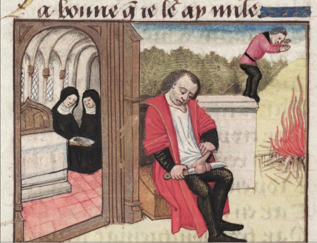 Origen emasculating himself, Roman de la Rose, France 15th century (Bodleian Library, MS. Douce 195, fol. 122v)