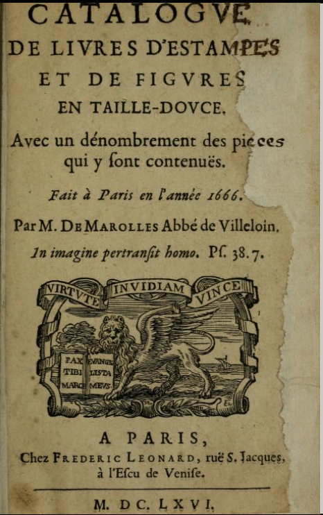 Title page of the Theodore Besterman copy of Marolles at the Getty Research Institute. The title page has a significant lacuna in the right margin and the copy appears to be significantly cropped.