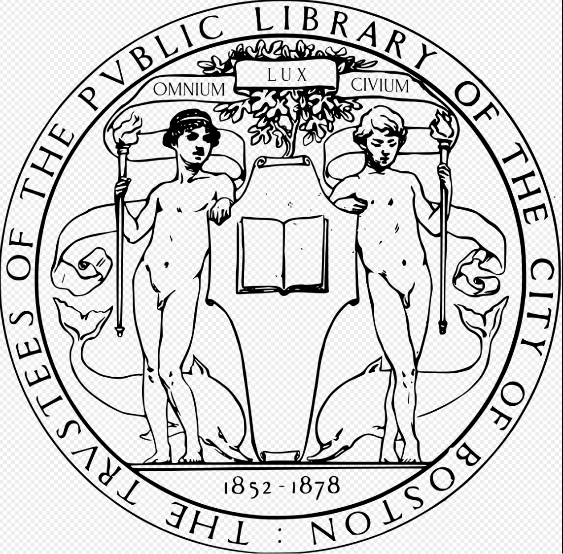 The Seal of the Trustees of the Boston Public Library, as designed by Augustus Saint-Gaudens
