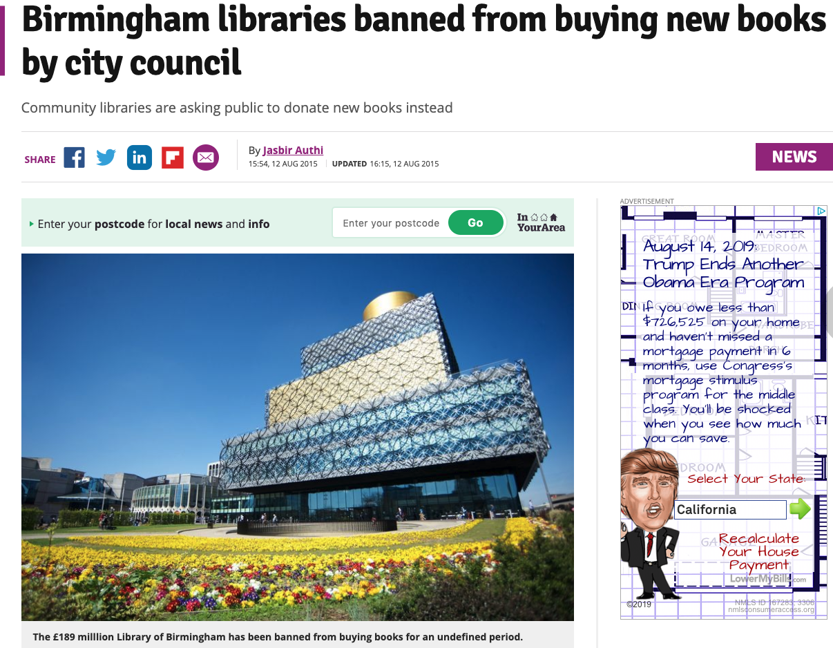 In this article dated August 12, 2015, two years after the Library of Birmingham was opened, the city placed a moratorium on book buying for all the libraries in Birmingham.