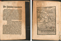 The first of 5 woodcuts in the first illustrated edition of the Columbus letter. Supposedly the woodcuts were copied from drawings by Columbus. This and the other four page openings reproduced with this entry are from the digital facsimile of the copy in the Bayerische Staatsbibliothek.