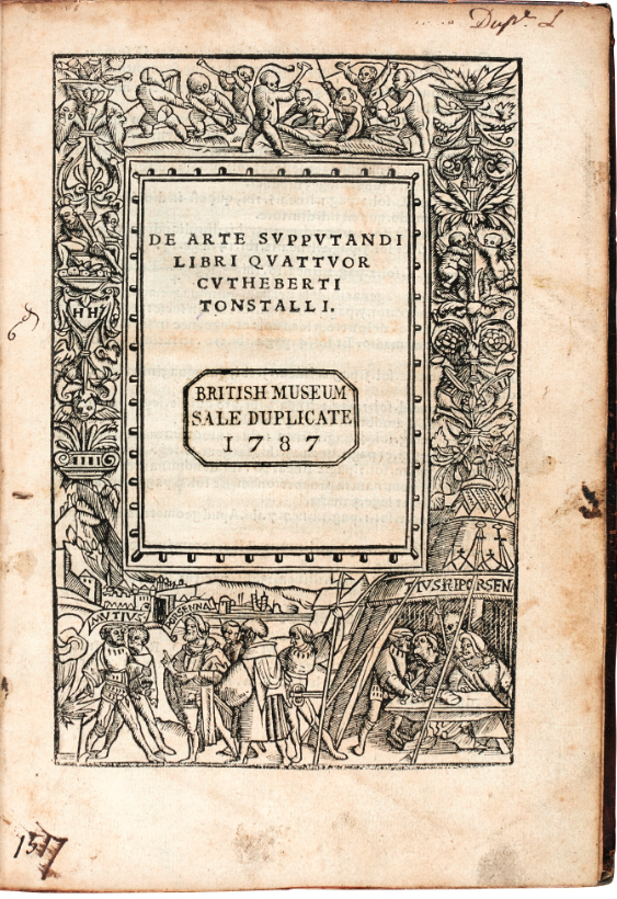 The woodcut border on the title page was by Hans Holbein. This is a British Museum duplicate sold in 1787. It was most recently sold by Sotheby