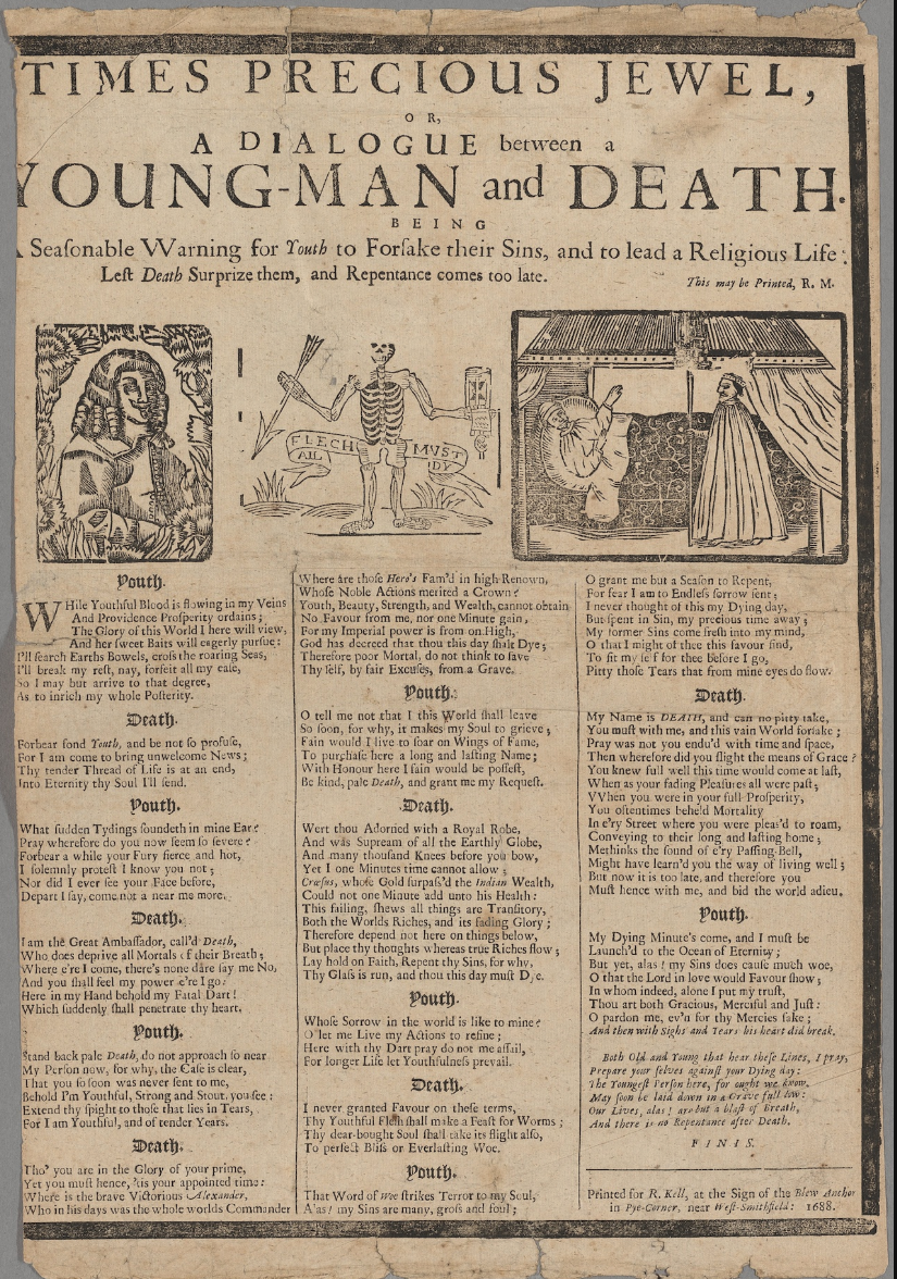 Broadside dated 1688 from the Houghton Library, Harvard University.