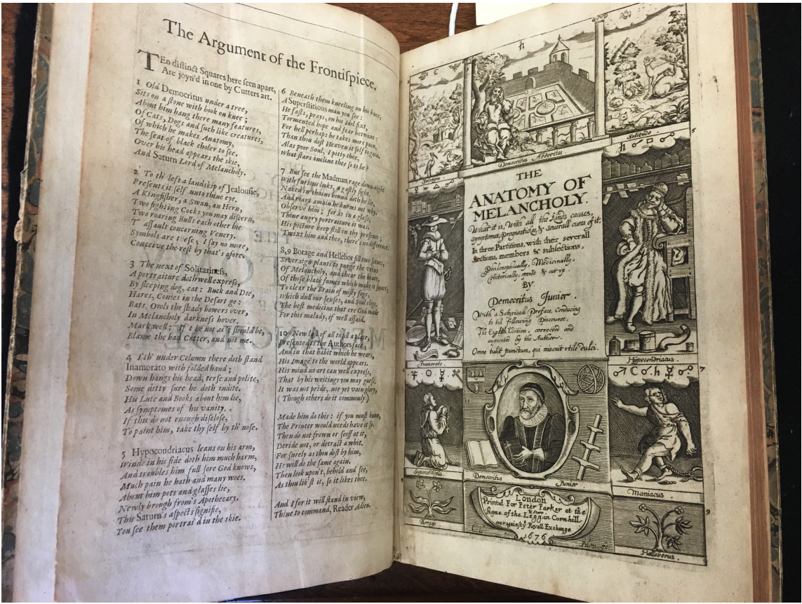 This image of the 8th edition (1676) has the advantage of showing the captions to the engraved title page as well as the title page.