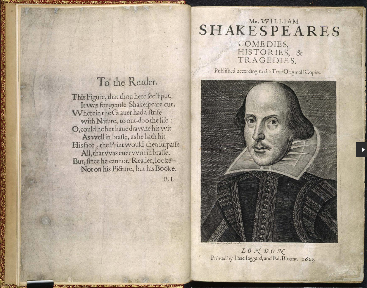 Title page and frontispiece of the first folio.