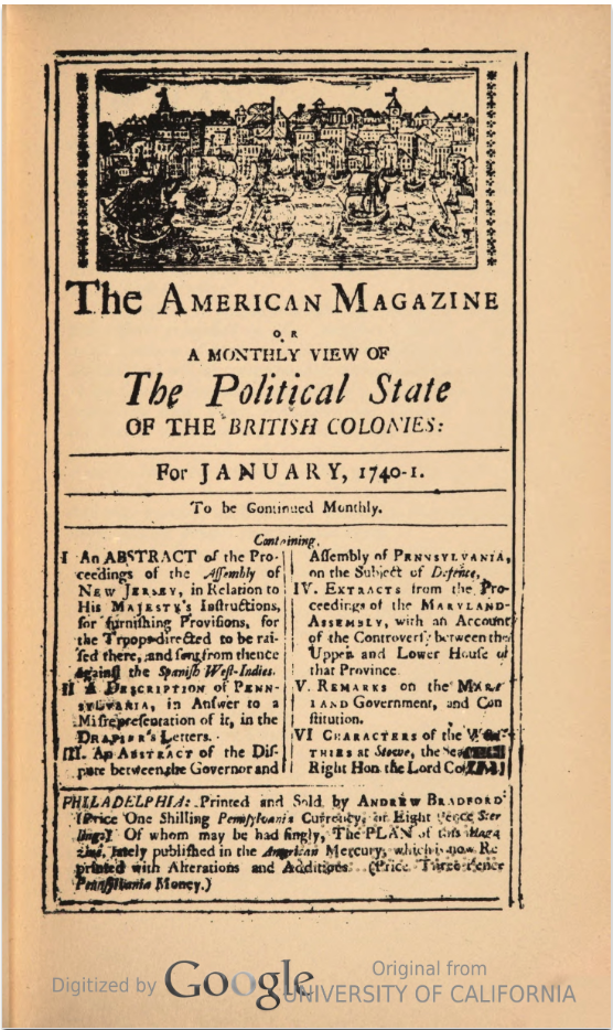 This is a digital copy of the reproduction of the first issue of The American Magazine published by the Facsimile Text Society by Columbia University Press. It was scanned by Google but, I found it through the Hathi Trust Digital Library.