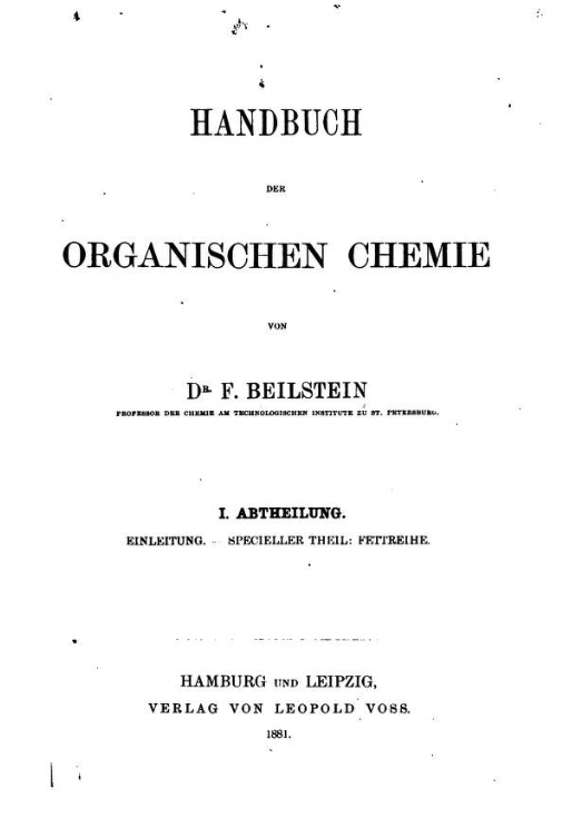 Title page of the first edition of Beilstein.