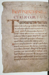 Vol. 7, 1 recto, a Carolingian leaf from the Maurdramnus codex.