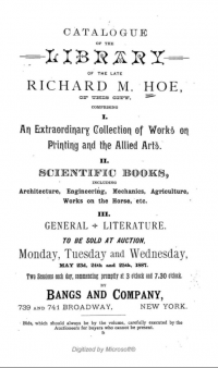 Title page of the auction catalogue of Richard Hoe