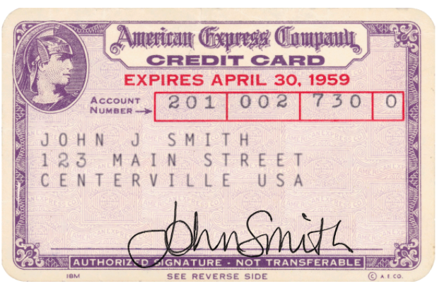 The first American Express card.