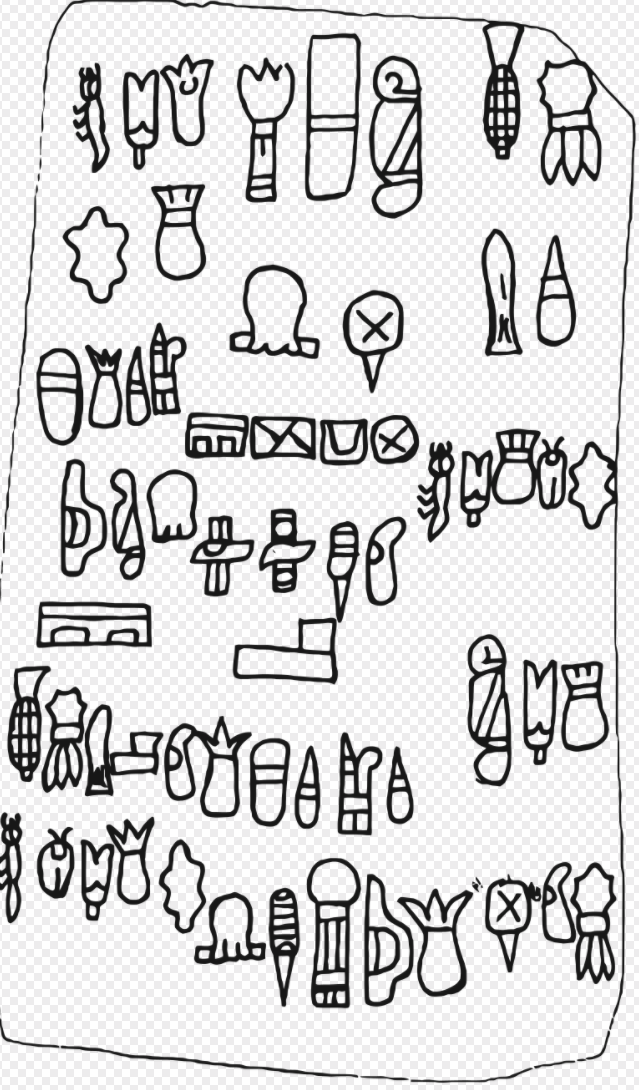 The 62 glyphs of the Olmec Cascajal Block.
