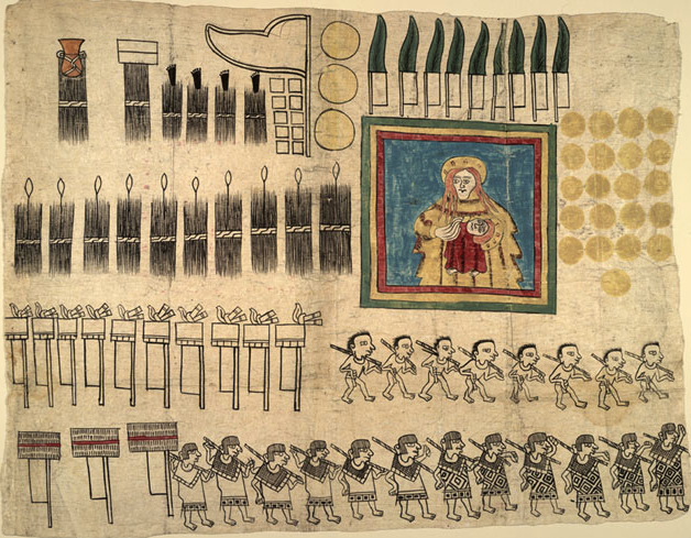 Part of the Huexotzinco Codex, written on amate.