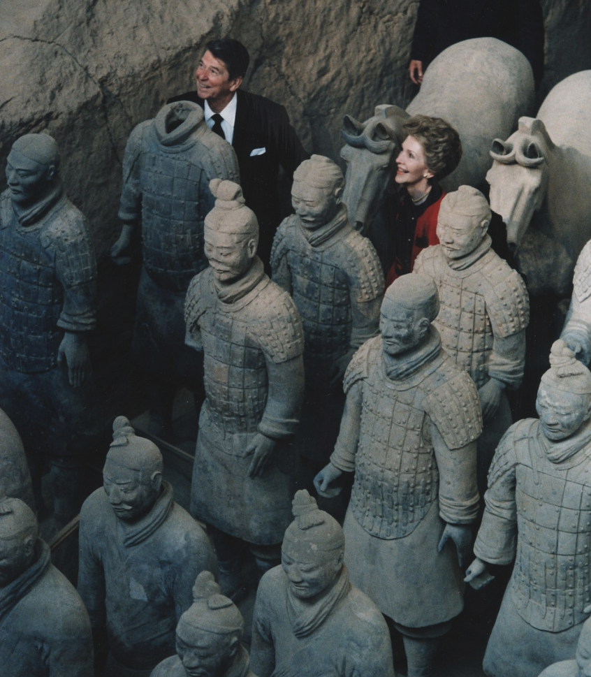 U.S. President Ronald Reagan and First Lady Nancy Reagan visiting the Terracotta Army in Xi
