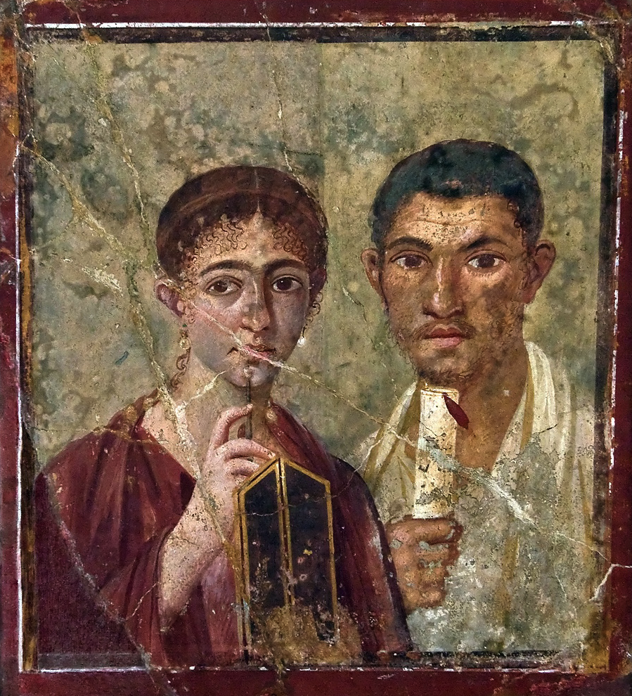 Portrait of Terentius Neo, the woman holding wax tablets and a stylus, the man holding a papyrus roll.