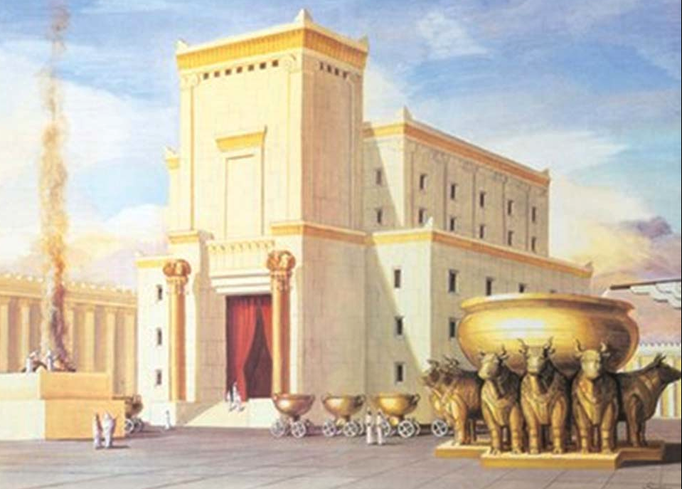 Artistic and imaginative depiction of the First Temple or Solomon