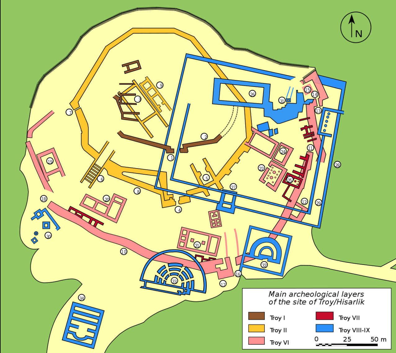 Archaeological plan of Troy reproduced from the Wikipedia.