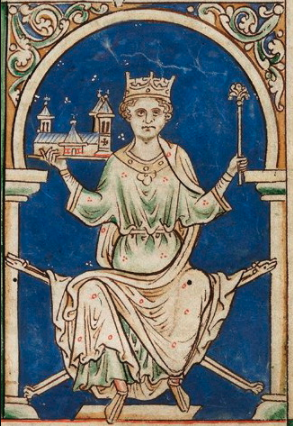 Henry III, King of England miniature painting from Matthew Paris, Historia Anglorum,  (British Library, MS Royal 14 C VII f.9).